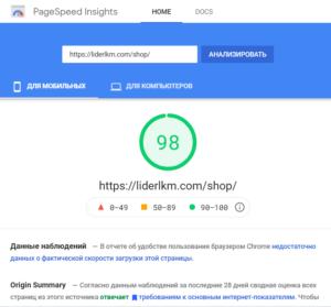 Пример выполненной нами оптимизации показателей PageSpeed Insigths